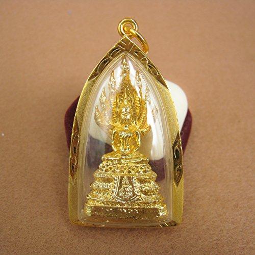 Buabowran Phra Nak Prok 7Naga Köpfe Thai Buddha Holy Amulett Anhänger Gold-Plating