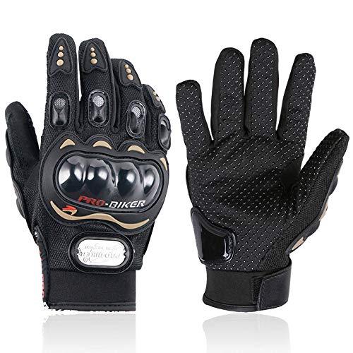 1 Paire Gants Plein-Doigt Homme pour Moto Anti-Choc avec Coque de Protection Rigide Gant Moto Printemps Automne - M/L/XL/XXL (XXL)