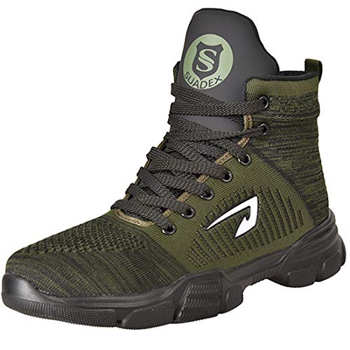 SUADEX Steel Toe Boots for Men Women Steel Toe Shoes Indestructible Slip-Resistant Work Safety Shoes Green