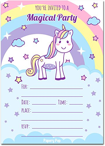 30 Unicorn Birthday Invitations with Envelopes (30 Pack) - Kids Magical Birthday Party Invitations for Girls