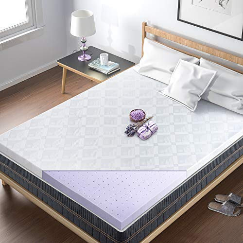 BedStory Memory Foam Mattress Topper King, 3 Inch Lavender Infused Foam Bed Topper with Microfiber Fitted Cover, High-Density Memory Foam Mattress Pad with CertiPUR-US & Ventilated Design