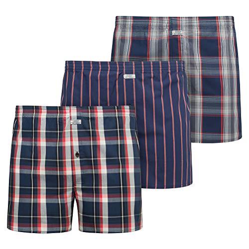 Jockey 3-Pack Strepen & Plaid Geweven Boxershorts voor heren, marine/blauw/rood/check