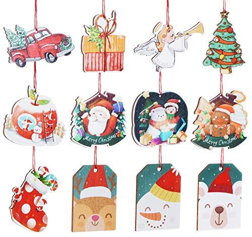 12 STK Christbaumschmuck Holz Weihnachts-Anhänger Weihnachtsmann Schneemann Angel Bär Weihnachtsbaum Weihnachtsdeko gepunktet - Baumschmuck Weihnachtsanhänger