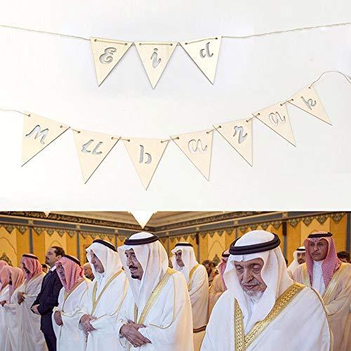 Globqi Eid Ramadan mubarak 10 stuks houtspaanders + 2 stuks 1,5 m lange snoeren decoratie hanger DIY islamitisch eid mubarak festival decoratie moslim ramadan