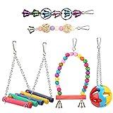 Wood Bird Ladder Ball Bell Parrot Swing Bridge Cage Accessories Decor Rainbow Pet Trainning Toy 5pcs/Set