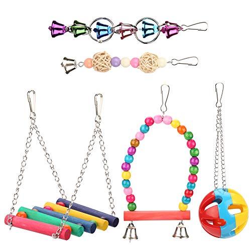 5 piezas de juguetes de loros de aves, mascotas, jaulas, hamacas, columpios y colgando, juguetes de campanas para periquitos pequeños, cacatúas, conure, guacamayos, loros, pájaros del amor, pinzones