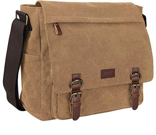S-ZONE Men's Messenger Bag Crossbody Shoulder 15.6 Inch Laptop Vintage Canvas Briefcase Satchel for Work School Traveling Daily Use Multiple Pocket