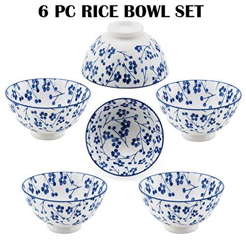Hinomaru Collection Oriental Japanese style Set of 6 Ceramic Donburi Rice Bowl Tayo Multi Purpose 4.5' Dia x 2.25' H (White Cherry Blossoms)