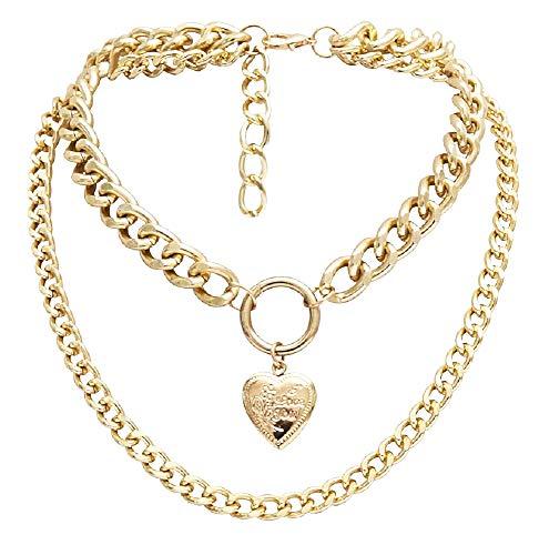 Vrouwelijke ketting - vrouwenhart - jij - openingshart - grote ketting - ik hou van jou - dubbele choker - goud - meerlagig - kerstmis - origineel cadeau-idee - sieraden - verjaardag love you collier