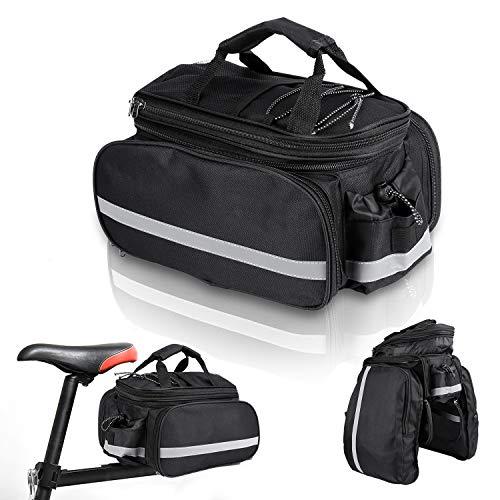 wolketon Fahrradtasche Fahrrad-Rückentasche 20 L,Fahrrad Satteltasche Multi-Pocket-Design mit Erweitertem Fassungsvermögen,Geräumige Fahrradtasche mit 3M reflektierender und Regenschutzdeckel