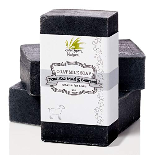 Activated Charcoal Soap Bar (3 PACK) With Dead Sea Mud - For Dry Sensitive Skin. All Natural Face Soap & Body Soap. Made With Goat's Milk & Peppermint Essential Oil. For Men, Women & Teens. (4 oz EACH)