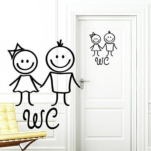 Wandtattoo-Loft 'WC Adesivo Mann e Donna Nero Adesivo per Porta Stanza da Bagno Toilette Targa Porta Adesivi