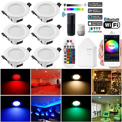 Wlan Bluetooth 9W LED Einbaustrahler RGBW+CCT 5 in 1 Einbauleuchte Spot Dimmbar 230 Volt Einbauleuchten mit Bluetooth Fernbedienung,BT Mesh Smart Bridge