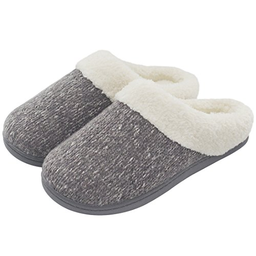ULTRAIDEAS Women's Cozy Memory Foam Knit Slippers, Ladies' Slip on Mules House Shoes with Indoor Outdoor Anti-Skid Rubber Sole (Gray,11-12)