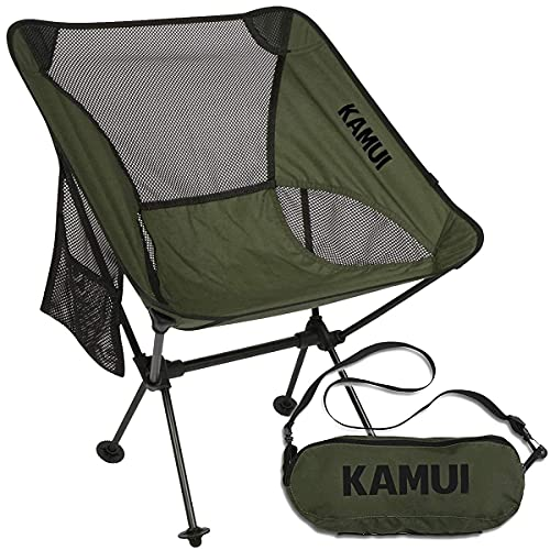 KAMUI Portable Camping Chair, Compact Lightweight Folding with Side Pocket