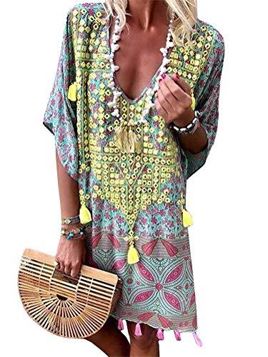 Onsoyours Damen Sommerkleider V-Ausschnitt Strandkleider Kurzarm Casual A-Linie Boho Kleid Bohemian Quaste Kleid Retro Bikini Cover Up B Gelb DE 44