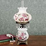 Beatrice Hurricane Rose Table Lamp Pink One Size - 24 Inches High - Victorian Style - Crystal Beads, Glass - Floral Aesthetic, Roses - Vintage Antique Lamps for Home Desk, Bedroom - 24 Inches High