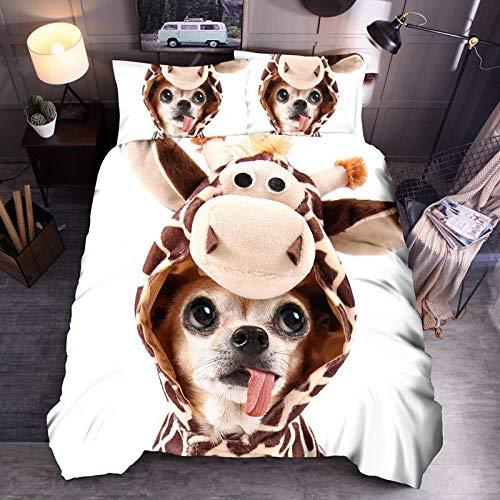 Erbaeo 4 delar barnpåslakan med 1 dra-på-lakan och 2 kuddar, tecknad djurhund - sängkläder med tryck med blixtlåsstängning, pojkar barn överkast kung : 240 x 220 cm