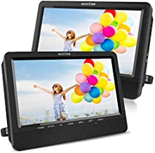 WONNIE 10.5'' Dual Screen DVD Player Portable Headrest CD Players for Kids with 2 Mounting Brackets Built-in 5 Hours Rechargeable Battery Great for Car Travel ( 1 Player+1 Monitor )