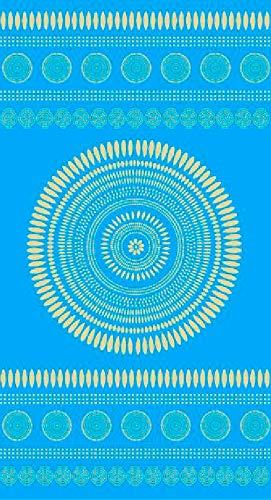 TEXTIL TARRAGO Toalla de Playa fouta hamman Flat 90x170 cm 100% Algodon Egipcio Mandala Turquesa FAC16