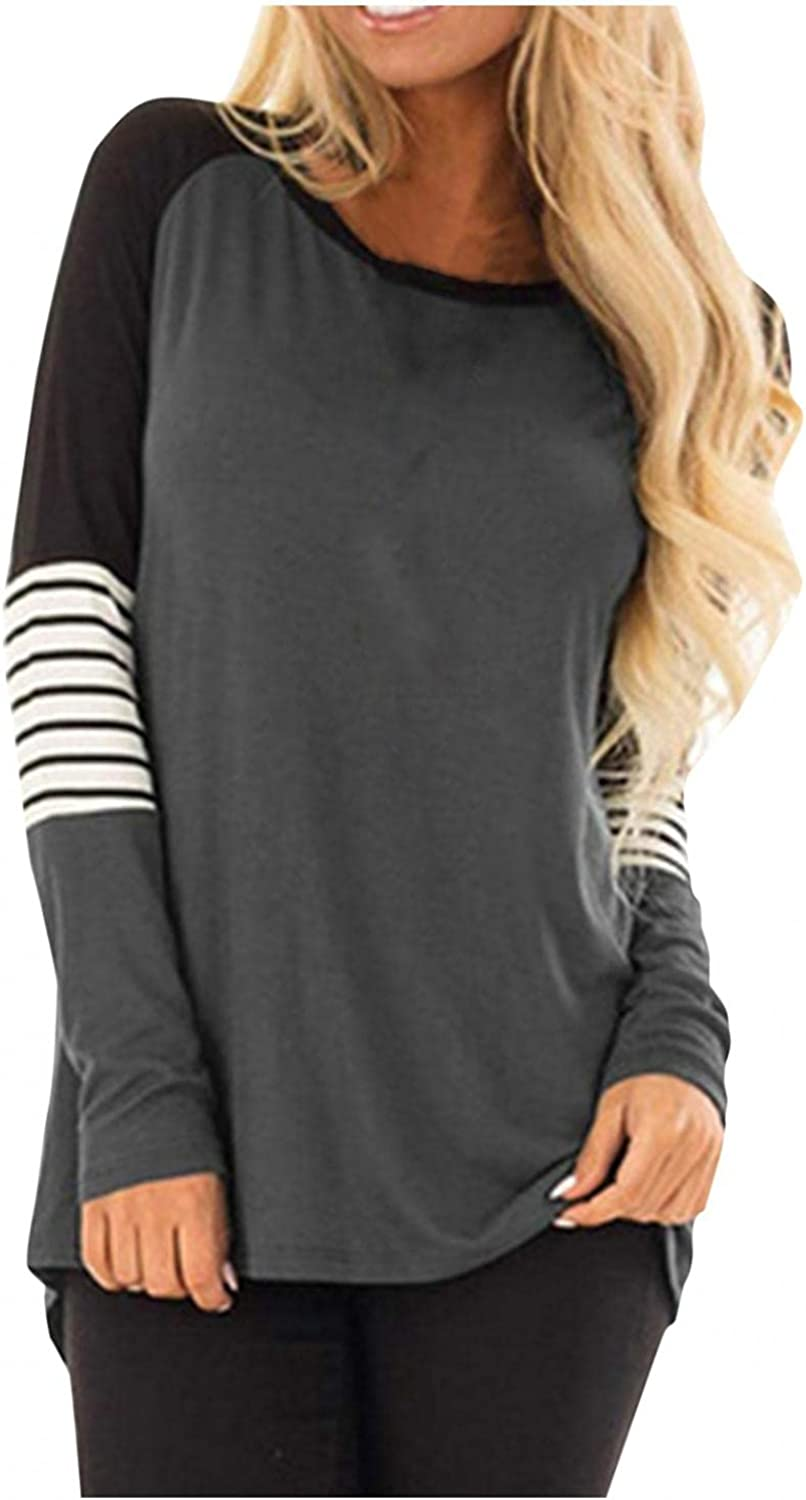 Women's Long Sleeve Tunics Tops Loose Fit Crew Neck Casual Blouses Striped Color Block Sweatshirt Shirts