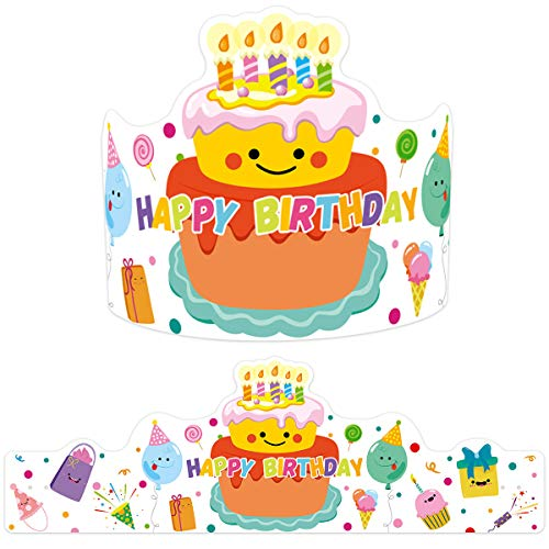 ceiba tree Classroom Birthday Crown Confetti-Themed for Kids Birthday Hats School Party Supply Teacher Reward 30Pcs