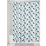iDesign Triangles Duschvorhang | Vorhang für Dusche & Badewanne | cooler Duschvorhang mit Triangel-Muster in 183,0 cm x 183,0 cm | Polyester türkis/mint