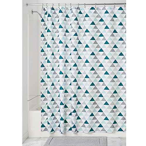 Price comparison product image iDesign Triangles Fabric Shower Curtain,  Long Polyester Shower Screen with Triangle Pattern Design,  Deep Teal / Mint