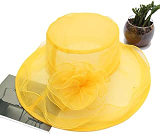 Organza Hat Sun Hat Wide Brim Mesh Sun Protection UV Protection Floral Organza Shade Hat Women's Summer Hat for Church Wedding Party Beach Travel Outgoing