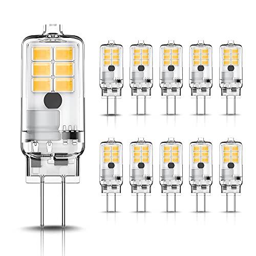 LOHAS LED G4 Bombilla, G4 LED Bulbo, 2W Equivalente a Halógeno de 20W, 3000K Blanco Cálido, 200LM, Ángulo de Luz de 360°, AC/DC 12V, Sin Parpadeo, No-Regulable, Ahorro de energía, Paquete de 10