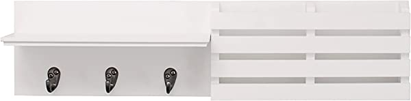 Kieragrace Sydney Wall Shelf And Mail Holder With 3 Hooks 24 Inch By 6 Inch White