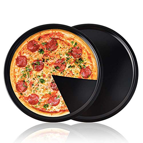 CANDeal 2 STÜCK Pizza Blech Pizzablech Backblech rund aus Blaublech Ø 34cm ideal auch für Flammkuchen oder Zwiebelkuchen zum überbacken oder gratinieren auf dem Grill
