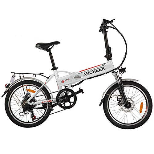 "BIKFUN 20""/26"" Bicicletta Elettrica, 250W Bici Elettriche, Batteria 36V 8Ah/12.5 Ah, Cambio Shimano 21 velocità / 7 velocità, E-Bike para Adultos (20' bianco)"