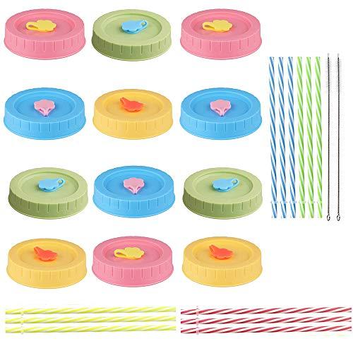 samantha 12 Stück Mason Jar Deckel, 12 Stück Plastikstrohhalme und Silikonstopfen, Silikonringe, Reinigungsbürste, BPA-frei in Lebensmittelqualität, Kompatibel mit Einmachglas, 4 Farben