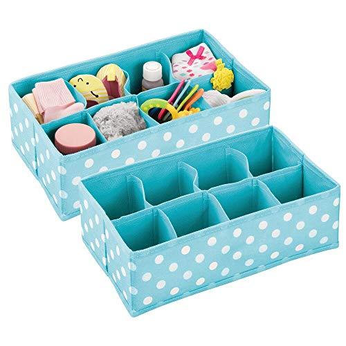 mDesign 2er-Set Kinderzimmer Aufbewahrungsbox – Aufbewahrungskorb aus Kunstfaser mit je 8 Fächern für Socken,...