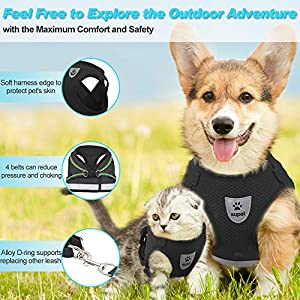 Supet Cat Harness and Leash Set for Walking Cat and Small Dog Harness Soft Mesh Harness Adjustable Cat Vest Harness with Reflective Strap Comfort Fit for Pet Kitten Puppy Rabbit
