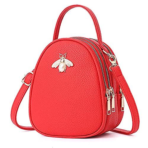 SKYXIU Bolso de hombro pequeño de cuero Crossbody bolsos de hombro monedero de múltiples capas de cremallera cartera bolsos para las mujeres