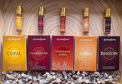 Aromafume Pure Resin Essential Oil Blends Roll On Set of 5 (Frankincense, Myrrh, Copal, Benzoin, Frankincense + Myrrh) - PURE OILS & Great Gift For meditation, spiritual awakening, prayer and wellness
