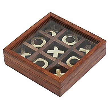 SouvNear Tic Tac Toe - Tick Tack Toe - Wooden Family Board Game Metal Noughts & Crosses Storage Box with Glass Lid -Unique Table/Desk/Floor/Indoor Game