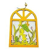 MOBFIDOFG Pasqua decorazion 2 Pezzi Coniglio in Legno Coniglio Uova Fiore Appeso Pendente Ornamenti Decorazioni di Pasqua Porta Fai da Te Arredamento per Feste a Domicilio (Color : 4)