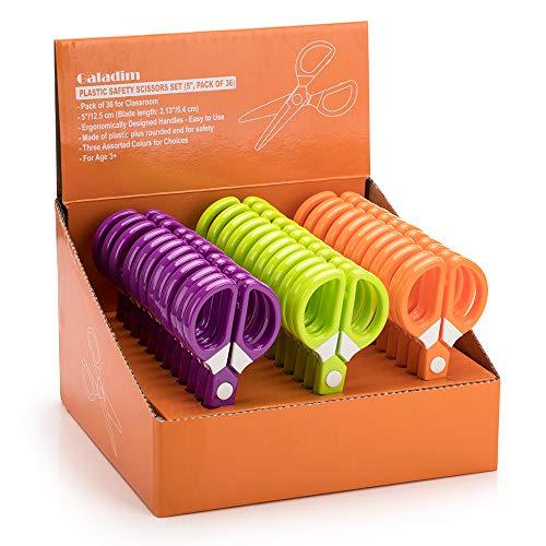 Galadim Juego de tijeras de seguridad para niños (paquete de 36 unidades, punta redondeada, 12,5 cm), tijeras de plástico de 5 pulgadas para niños en edad preescolar GD-021-DE-A1