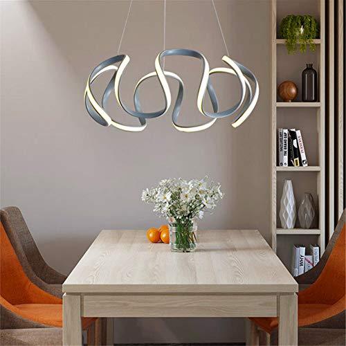 Chlyuan LED Deckenleuchte LED-Kristallleuchter-Anhänger Moderne Deckenleuchte Schlafzimmer Lampe Verstellbare Fixture (Farbe : Grau, Größe : A)
