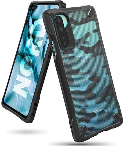 Ringke Fusion-X for OnePlus Nord Case Back Cover, [Military Drop Tested] Ergonomic Camo PC Back TPU Bumper Impact Resistant Protection for OnePlus Nord Back Cover Case - Camo Black