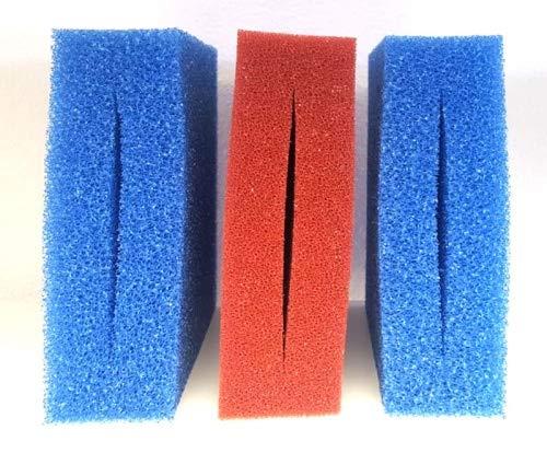 Pondlife Ersatzfilterschwamm Set für Oase Biotec 5 / 2X blau + 1x rot