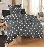 Bettwäsche Microfaser Bettbezug 135x200 Sterne Kissenbezug Grau Taupe Silber, Farbe:ANTHRAZIT