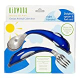 Fork and Spoon Cutlery Set for Children and Toddlers with Ergonomic Design - Blue Dolphin Animal Collection. BPA Free nontoxic Stainless Steel. Fun and Safe Utensil for Kids.