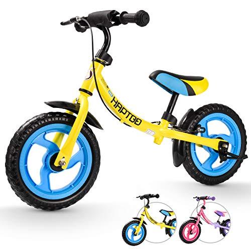 HAPTOO Bicicleta sin pedales a partir de 2 años, con freno lateral, ruedas para 2-4 años, color amarillo
