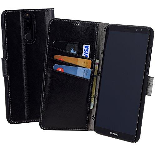 Suncase Book-Style (Slim-Fit) für Huawei Mate 10 LITE Ledertasche Leder Tasche Handytasche Schutzhülle Hülle Hülle (mit Standfunktion & Kartenfach) schwarz