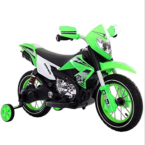 perfectbot 6V Electric Motorcycle, Battery Powered Dirt Bikes for Kids 3-6, Ride-on Mini Motorbike with MP3, Training Wheels, and Headlights, Green