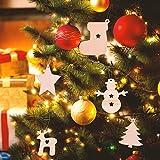 EKKONG 100 Stück Holz Christbaumschmuck, Weihnachtsbaum Deko,Weihnachtsanhänger,Weihnachtsbaumschmuck,Weihnachtsanhänger Deko, Christbaumschmuck Handwerkliche Verzierungen für Weihnachten - 2